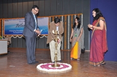 Nirav Patel with Dr Mallikarjun lighting the inaugral lamp