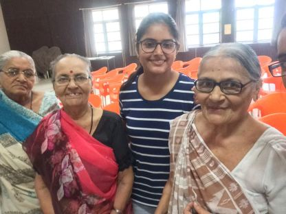 Old age home visit by students of IMNU